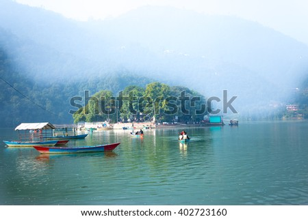 The Taal Barahi Temple is in the middle of the phewa lake in Pokhara,Nepal - stock photo