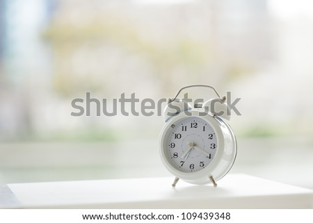 The table clock which is put in the room - stock photo