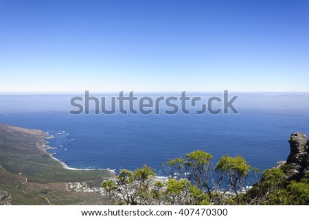 The table mountains scenery with blue sky, Cape Town, South Africa - stock photo