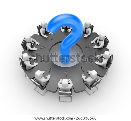 The table of the meeting in the form of a gear which sit businessmen. In the middle of the table is a blue question mark. Illustration on a white background. - stock photo