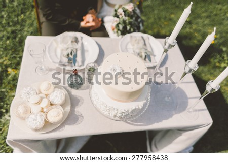 the table with the cake and wedding cake plates forks knives decor young couple sitting at the table - stock photo