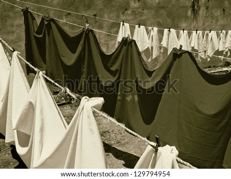 The tablecloths and napkins are dried on a rope - Mexico (stylized retro)