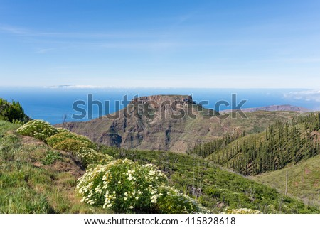 The tableland La Fortaleza on the canary island La Gomera. The mesa is a landmark on the island. La Fortaleza de Chipude reaches a height of 1243 meters, and its diameter is 300 meters