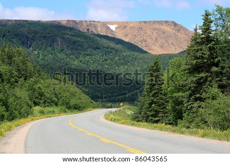 The Tablelands and Highway 431 in Gros Morne National Park, Newfoundland, Canada.