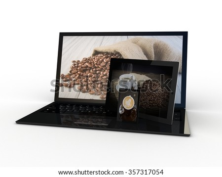 The tablet, smartphone and laptop with coffee a cup on the screen - stock photo