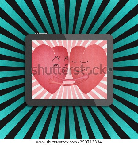 the tablet with two red heart romantic in valentines day