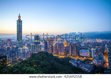 The Taipei City Skyline at sunset with nice color, Taiwan
