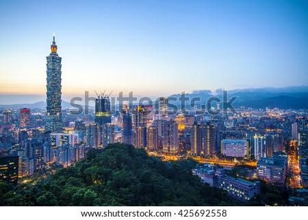The Taipei City Skyline at sunset with nice color, Taiwan - stock photo