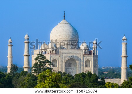 The Taj Mahal as seen over the treeline from a distance. - stock photo