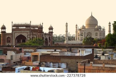 the Taj Mahal in Agra in Uttar Pradesh, India - stock photo
