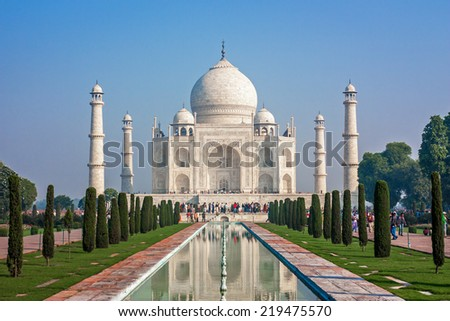 The Taj Mahal located in India is one of the new Seven Wonders of the World. - stock photo