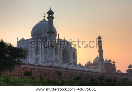 The Taj Mahal taken from the banks of the Yamuna river. - stock photo