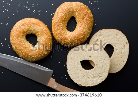 the tasty bagel with sesame seed - stock photo