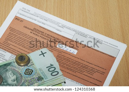 The tax form with money