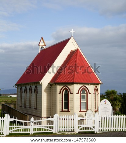 The Te Tokotoru Tapu (Holy Trinity Church) in Parawai, Thames, New Zealand. It was built by local Maori in 1886. - stock photo