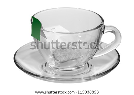 the tea bag in a Cup isolated on white