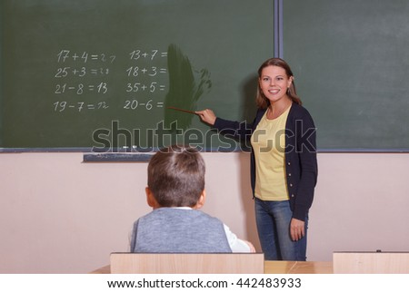 The teacher explains the lesson in class.