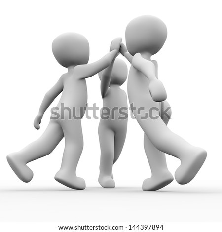 The team goals are achieved faster and better than alone - stock photo