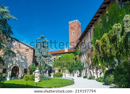 The Teatro Olimpico (Olympic Theatre) is a theatre in Vicenza, northern Italy. It is widely considered the first example of covered theatre of the Modern age - stock photo