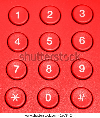 The telephone keyboard of red colour - stock photo
