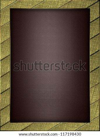The template for the inscription. Beautiful gold Background of the strips, and brown nameplate for writing. - stock photo