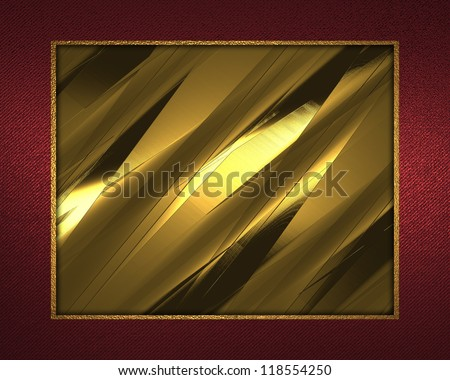 The template for the inscription. Beautiful gold background with a red ribbon on the edges (gold nameplate for writing). Template greeting card.