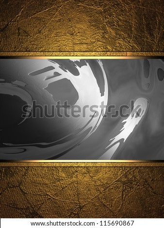 The template for the inscription. Gold background with a metal nameplate.