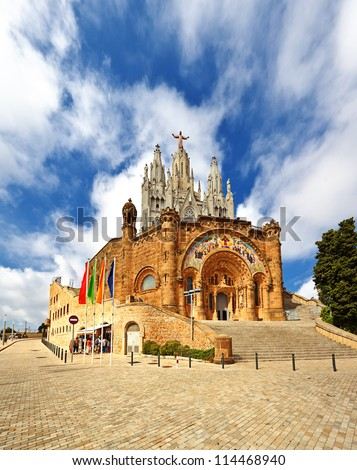 The Temple del Sagrat Cor (Church of the Sacred Heart). Barcelona. Spain. - stock photo