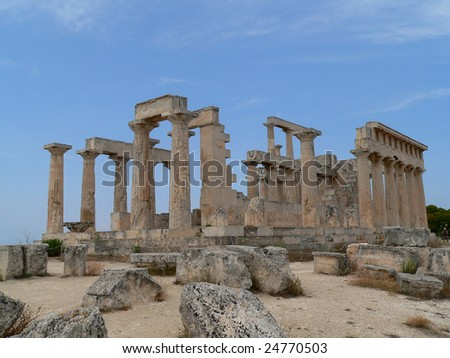 the temple of afesas on the island of aegena in greece