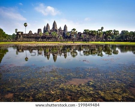 The temple of Angkor Wat, the world's largest religious monument, near Siem Reap, Cambodia. - stock photo