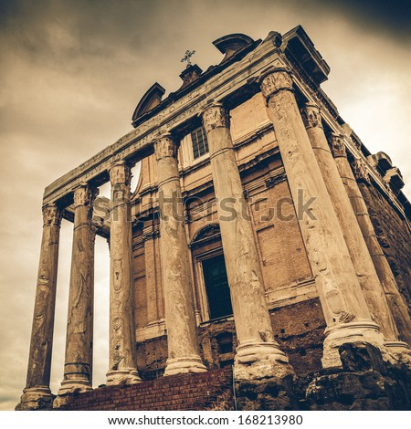the Temple of Antoninus and Faustina in the Roman Forum in Rome, Italy, converted to a catholic church, San Lorenzo in Miranda - stock photo