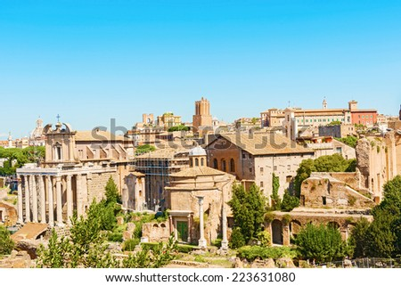 The Temple of Antoninus and Faustina is an ancient Roman temple in Rome, adapted to the church of San Lorenzo in Miranda. It stands in the Forum Romanum, on the Via Sacra, opposite the Regia.