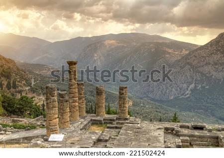 The Temple of Apollo,Delphi,Greece  - stock photo