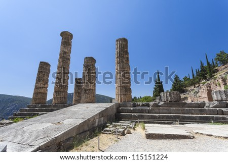 The Temple of Apollo in Delphi Greece - stock photo