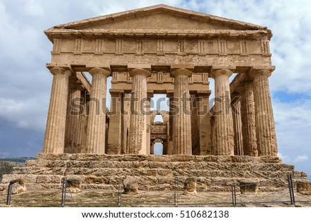 The Temple of Concordia in the Valley of Temples near Agrigento, Sicily