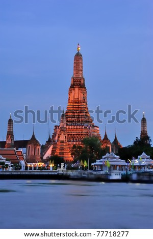 The Temple of Dawn, Wat Arun in Bangkok, Thailand - stock photo