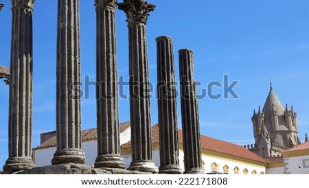 The 'Temple of Diana' in the UNESCO World Heritage Site of the City of Evora, Portugal, Europe - stock photo