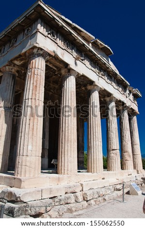 The Temple of Hephaestus at the north-west side of the Agora of Athens.Greece. - stock photo