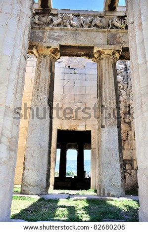 The Temple of Hephaestus in Athens, archaic ruins in Greece. Fragment. - stock photo