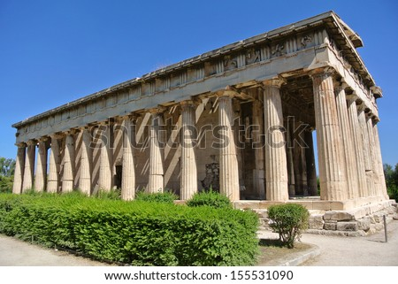 The Temple of Hephaestus is a well-preserved Greek temple; it remains standing largely as built. It is a Doric peripteral temple, and is located in The Ancient Agora of Athens, Greece - stock photo