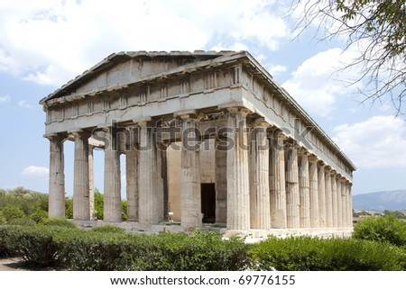 The Temple of Hephaestus  was begun in 449 BC, just two years before the Parthenon.