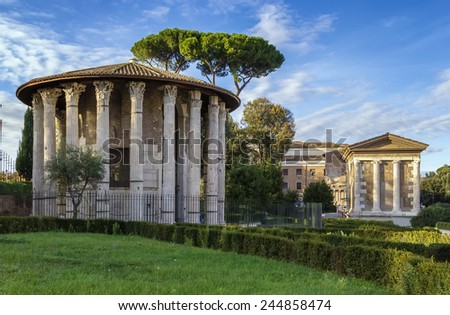 The Temple of Hercules Victor (Hercules the Winner) is an ancient edifice located in the area of the Forum Boarium close to the Tiber in Rome, Italy.  - stock photo