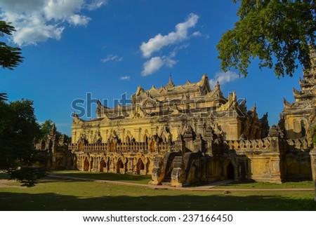 The temple of Maha Aungmye Bonzan monastery in Inwa, Mandalay, Myanmar. - stock photo