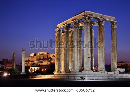 "The Temple of Olympian Zeus (considered one of the biggest of the ancient world) in the ""blue"" hour, with Acropolis in the background"