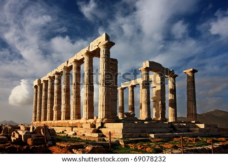 The Temple of Poseidon (ancient God of the Sea in the Greek Mythology) at Cape Sounion - stock photo