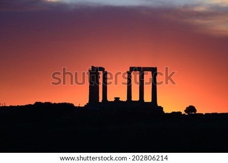 The temple of Poseidon at sunset, Cape Sounio, Greece