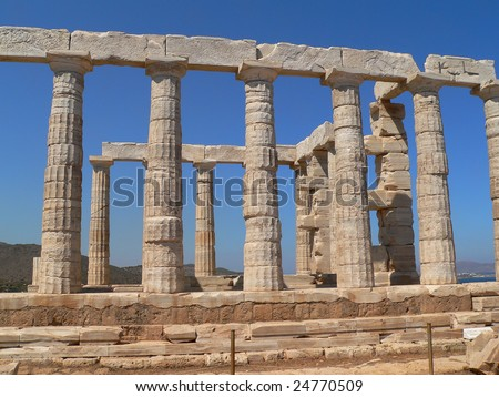 the temple of psidon in sounion near athens in greece