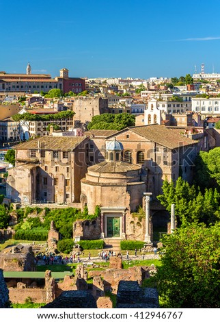 The Temple of Romulus in the Roman Forum - Italy