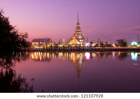 The Temple of So-thorn, in Thailand, in the evening with the reflection of river - stock photo