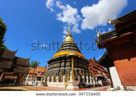 The temple of the Holy Relic of Lampang is the largest and most significant temple is Lampang,  - stock photo
